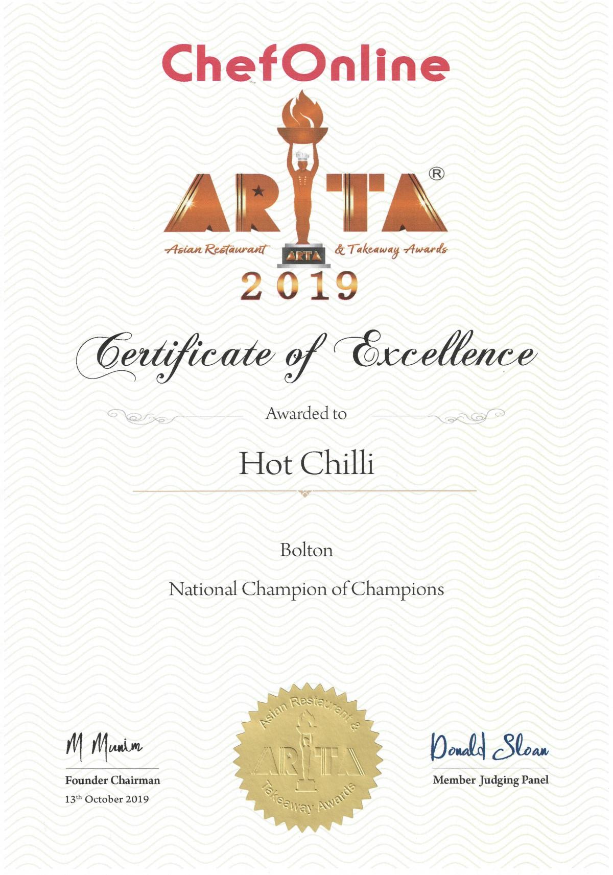 Champion of Champions Winner Certificate